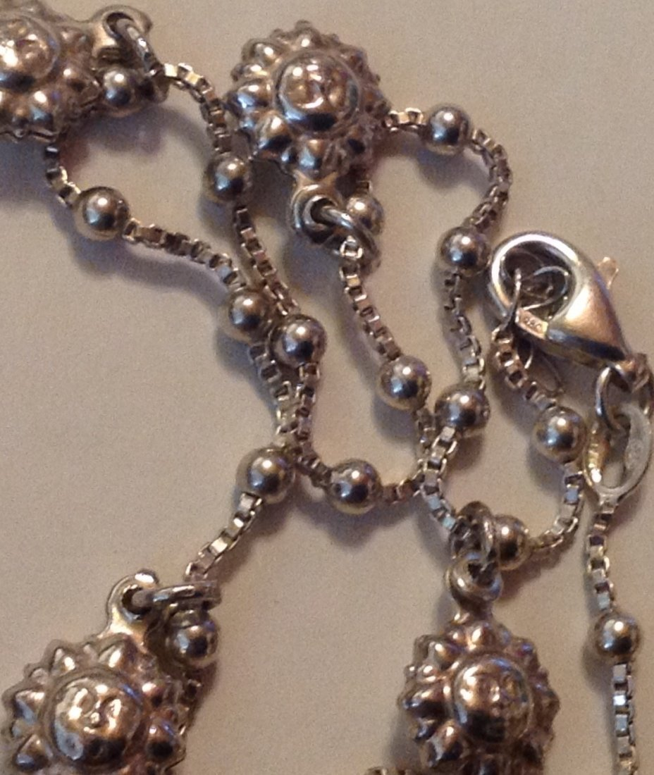 estate old sterling Italy 925 child puff necklace - 3
