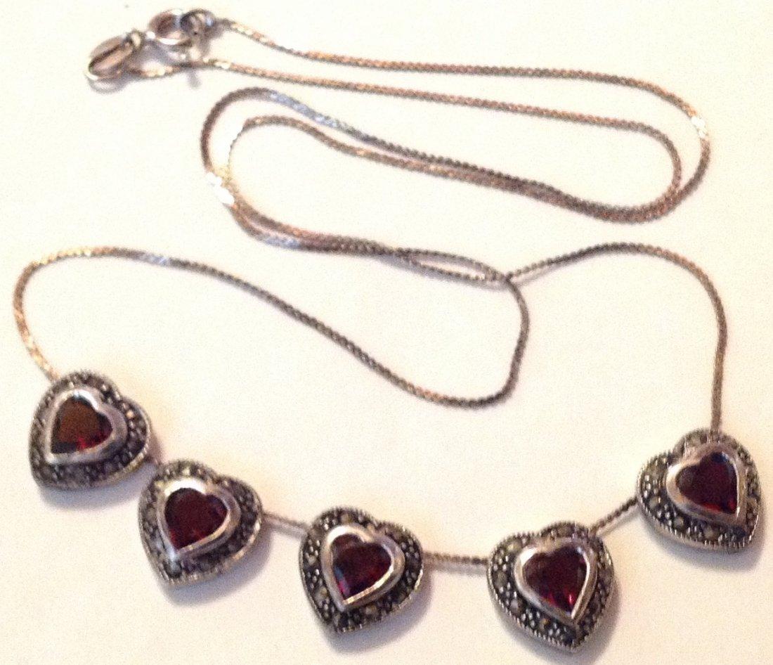 estate old sterling Garnet hearts slider necklace