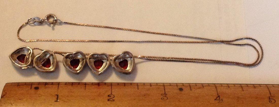 estate old sterling Garnet hearts slider necklace - 2
