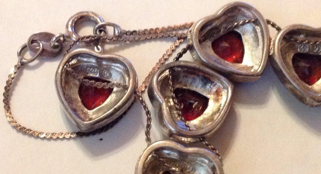 estate old sterling Garnet hearts slider necklace - 3