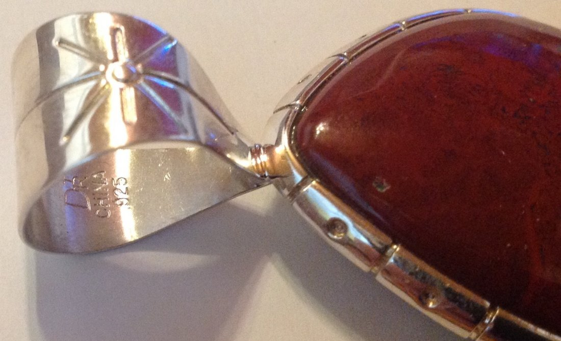 Estate Native Jay King sterling red jasper pendant. - 3