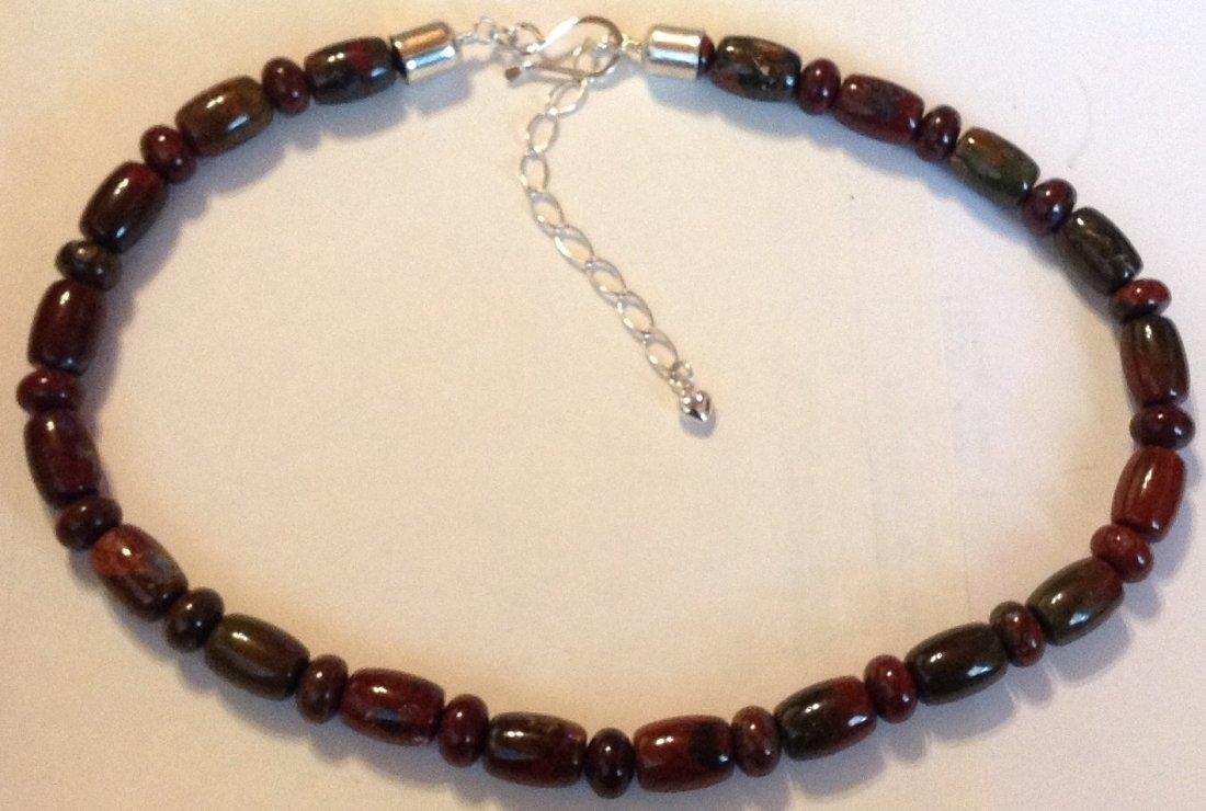 Estate Native Jay King sterling jasper bead necklace