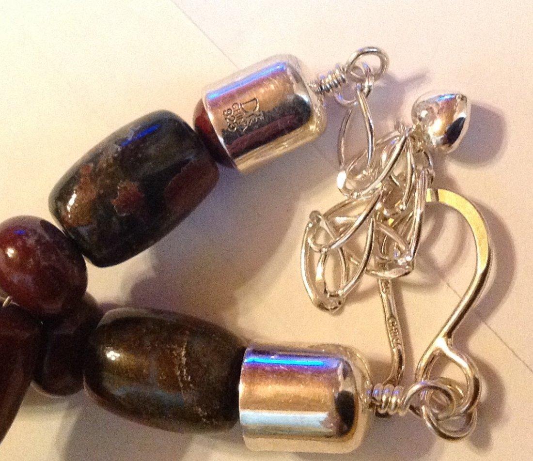 Estate Native Jay King sterling jasper bead necklace - 4