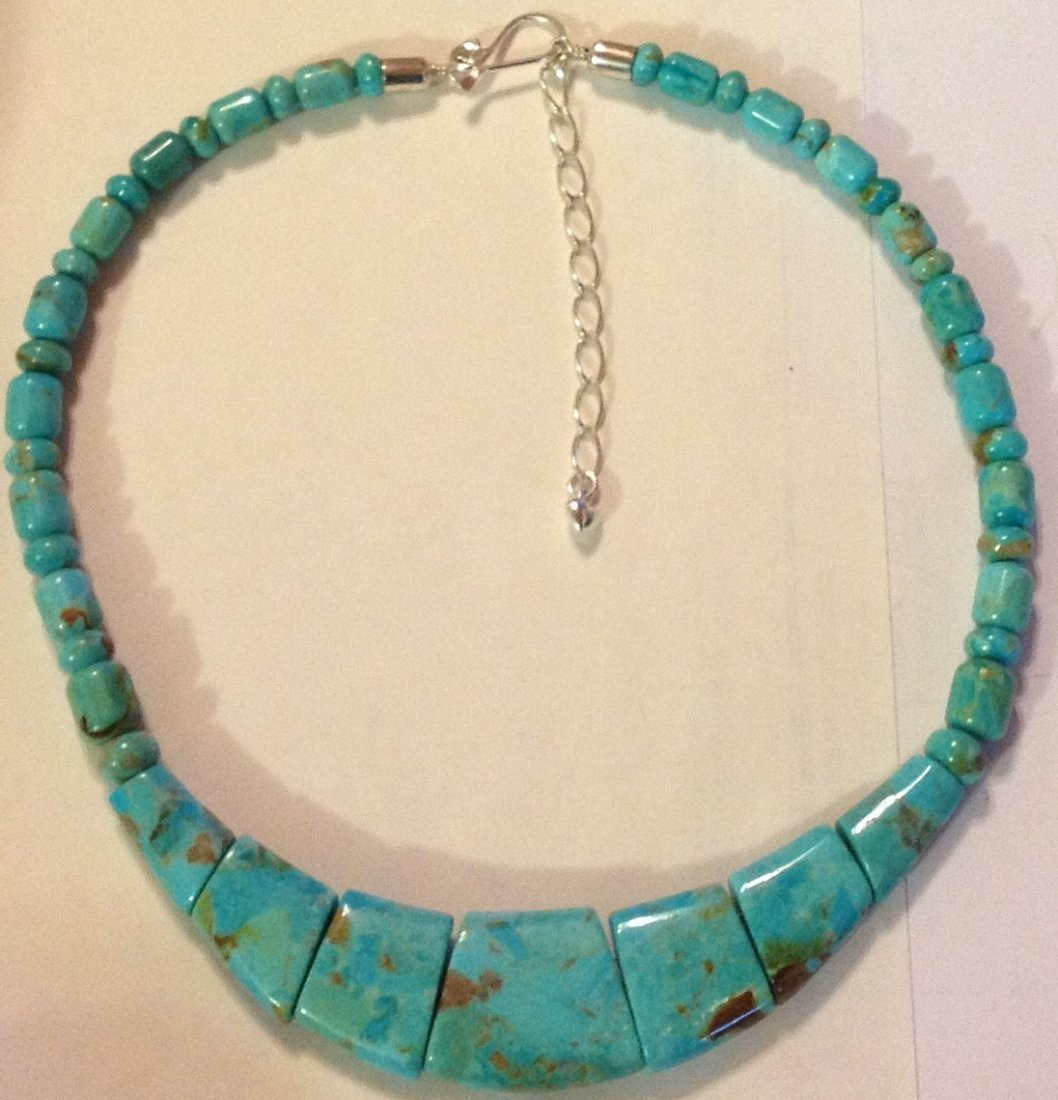 Estate Native Jay King sterling turquoise bead necklace
