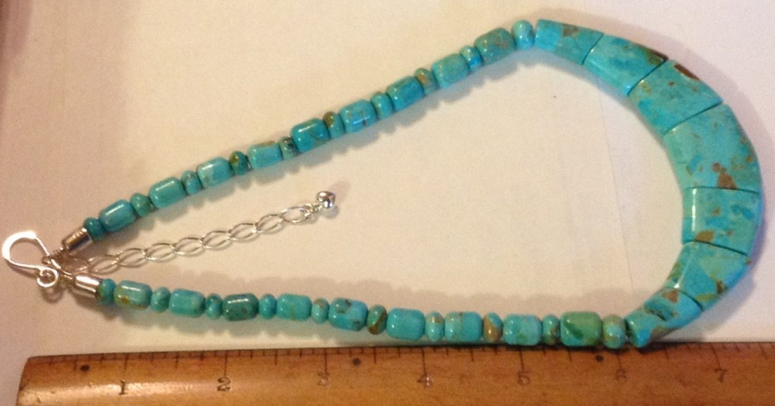 Estate Native Jay King sterling turquoise bead necklace - 4