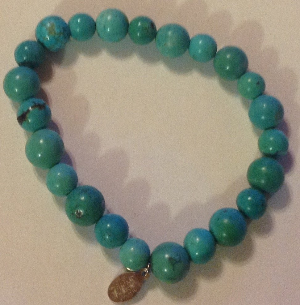 Estate Native sterling turquoise bead bracelet
