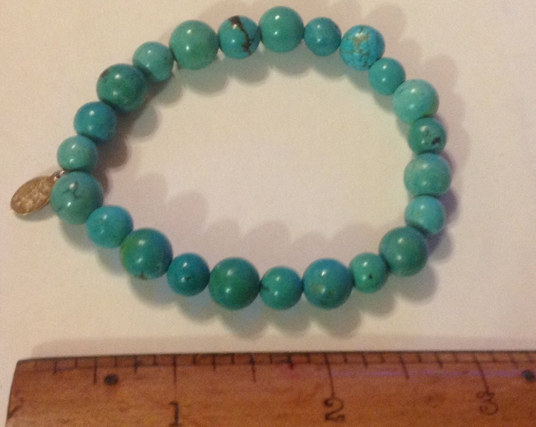 Estate Native sterling turquoise bead bracelet - 2