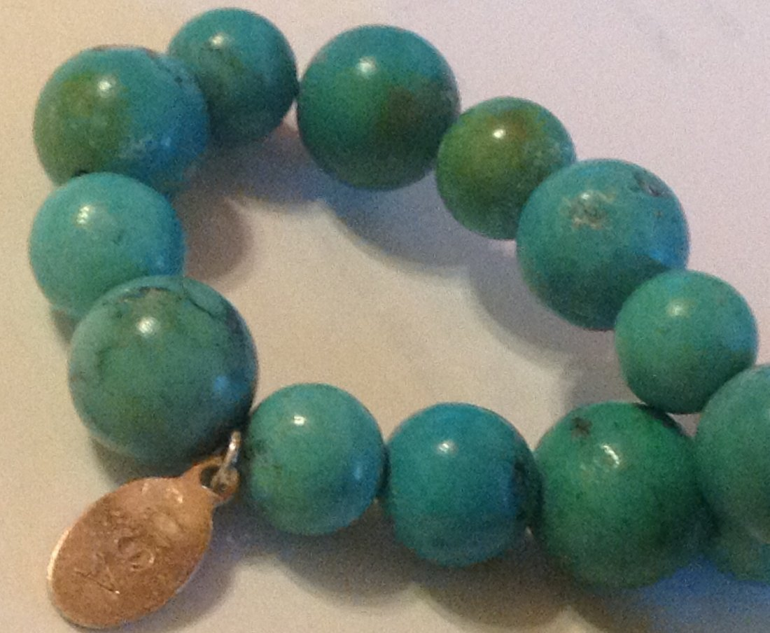 Estate Native sterling turquoise bead bracelet - 3