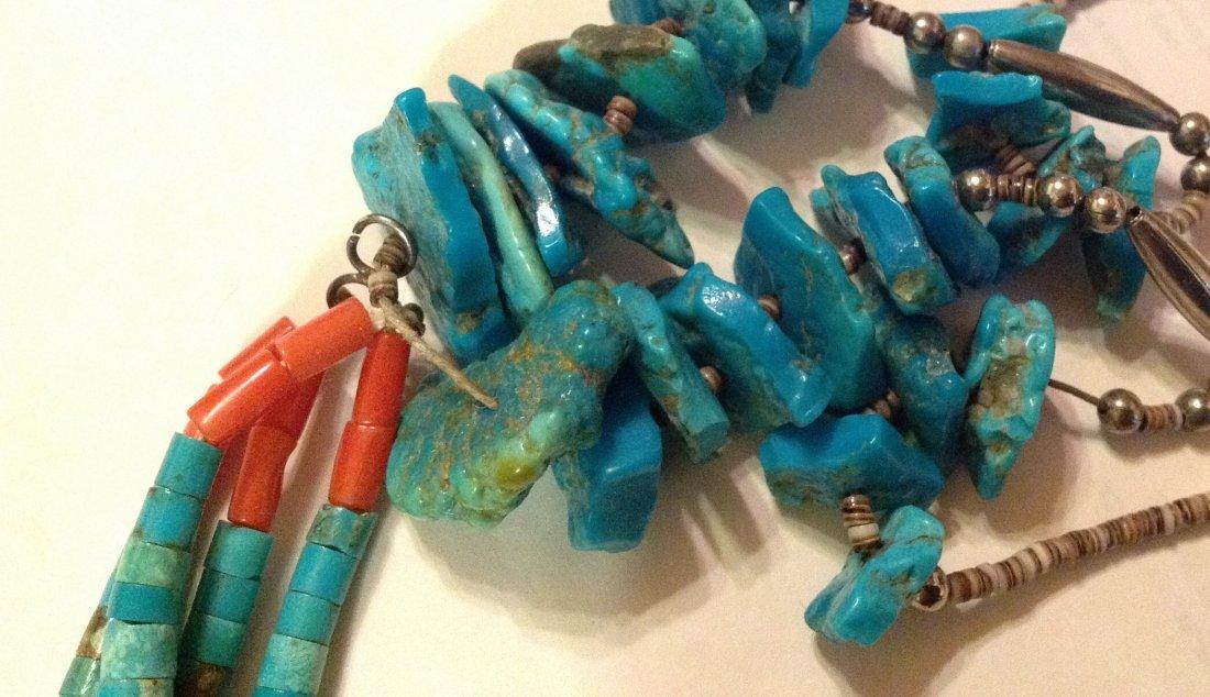Estate Native pueblo turquoise nuggets heishi jacla - 4