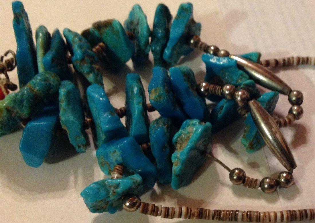 Estate Native pueblo turquoise nuggets heishi jacla - 5