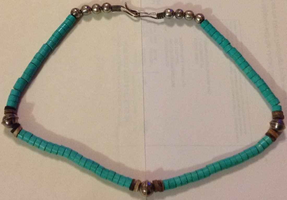 Old Native American sterling turquoise bead necklace