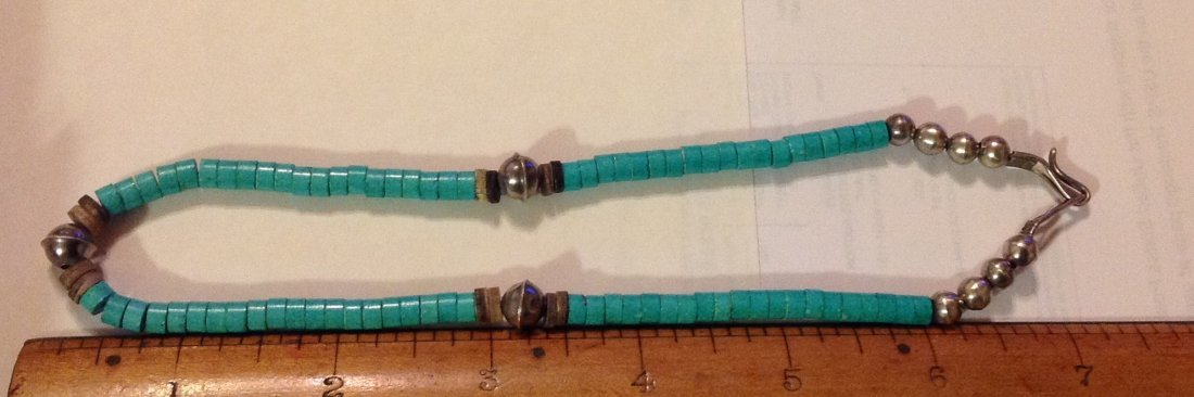Old Native American sterling turquoise bead necklace - 2