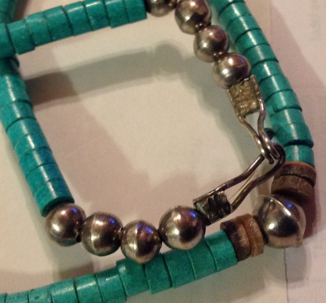 Old Native American sterling turquoise bead necklace - 3