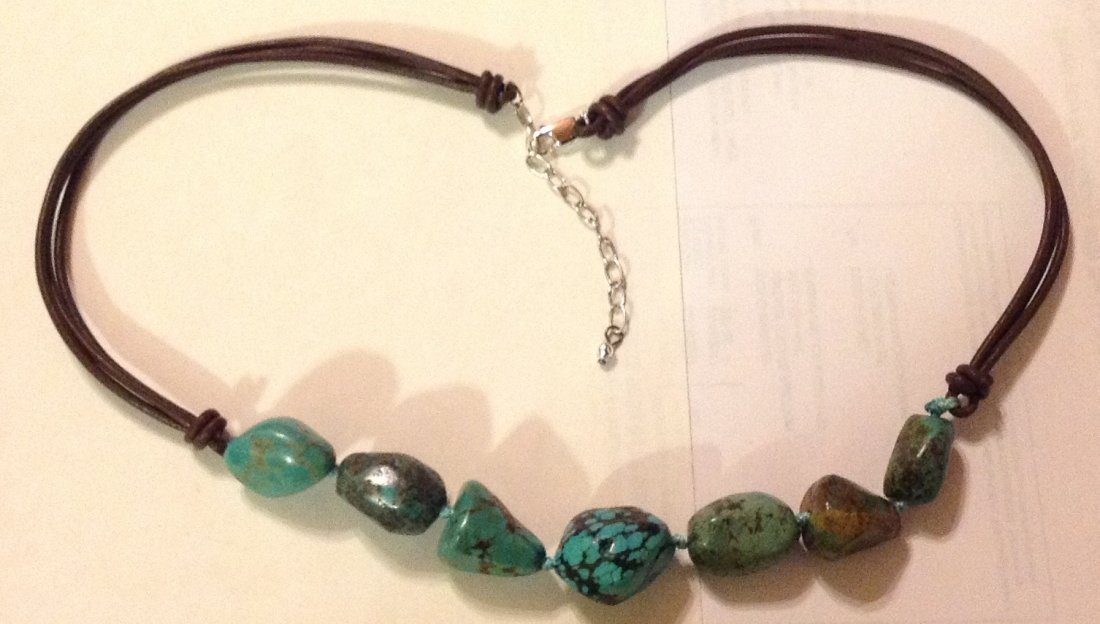 Estate Native sterling turquoise leather necklace
