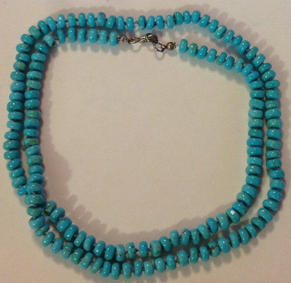 Estate Native  turquoise drum bead necklace