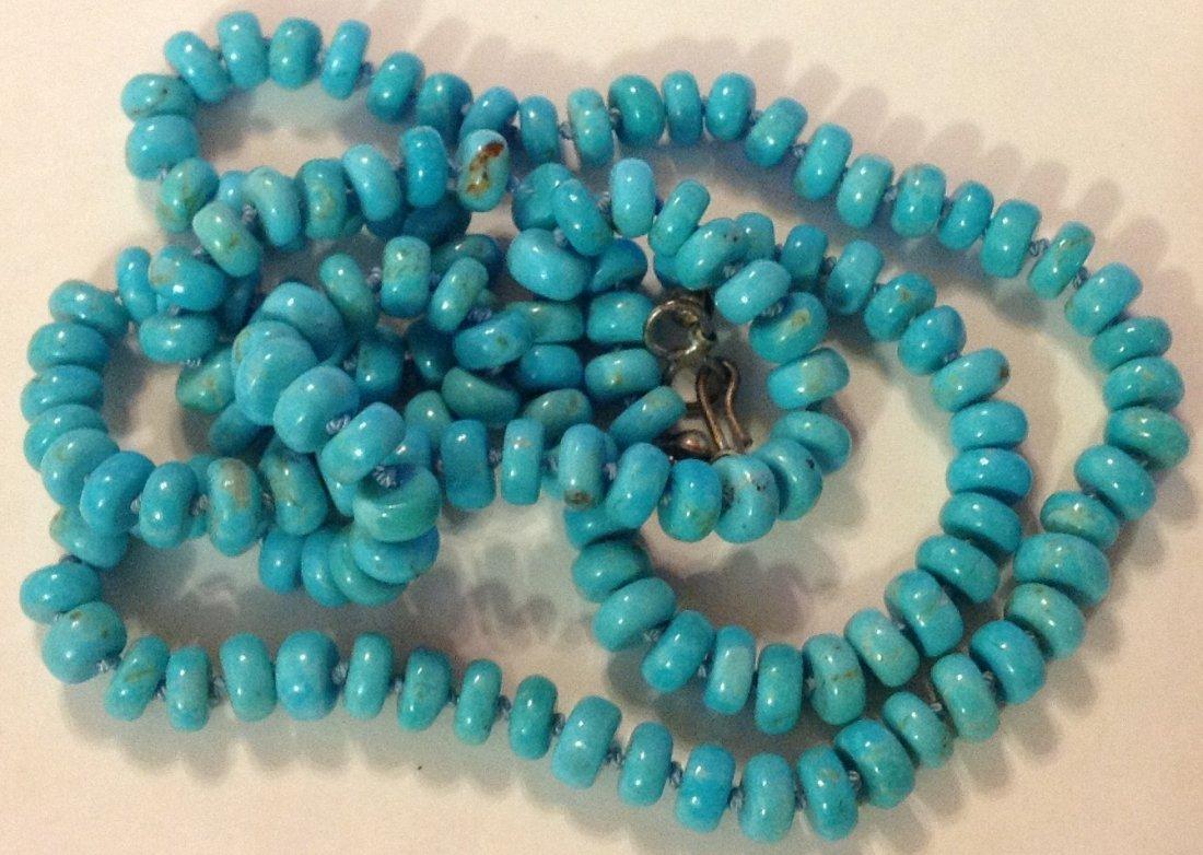 Estate Native  turquoise drum bead necklace - 2