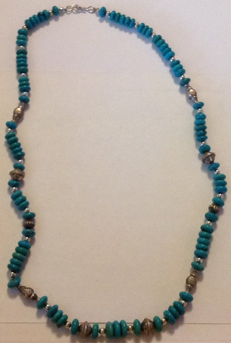 Estate Native sterling turquoise disc bead necklace