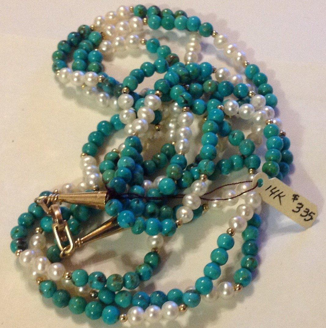 Elegant 14k gold turquoise pearl 3 strand necklace
