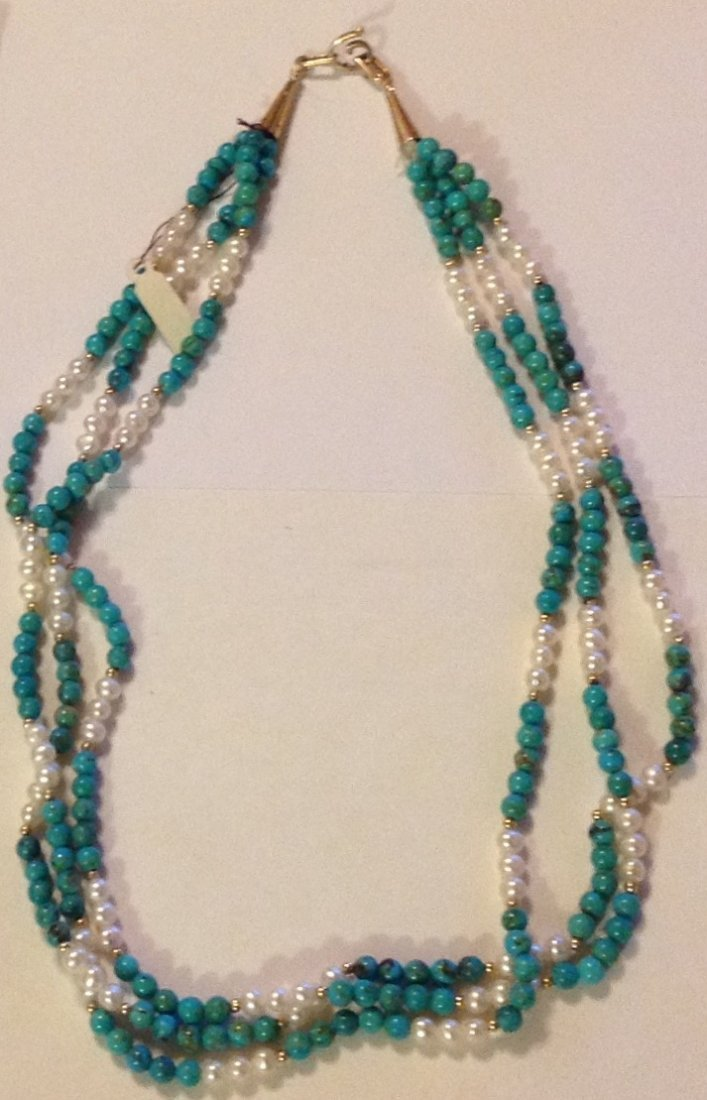 Elegant 14k gold turquoise pearl 3 strand necklace - 2