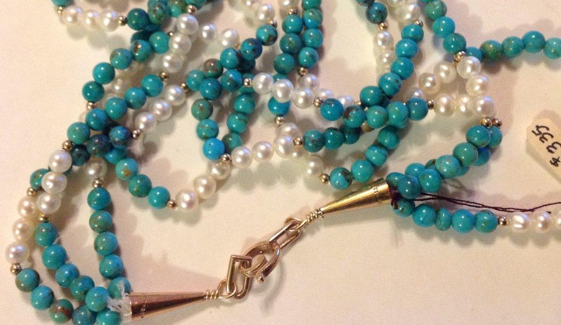 Elegant 14k gold turquoise pearl 3 strand necklace - 3