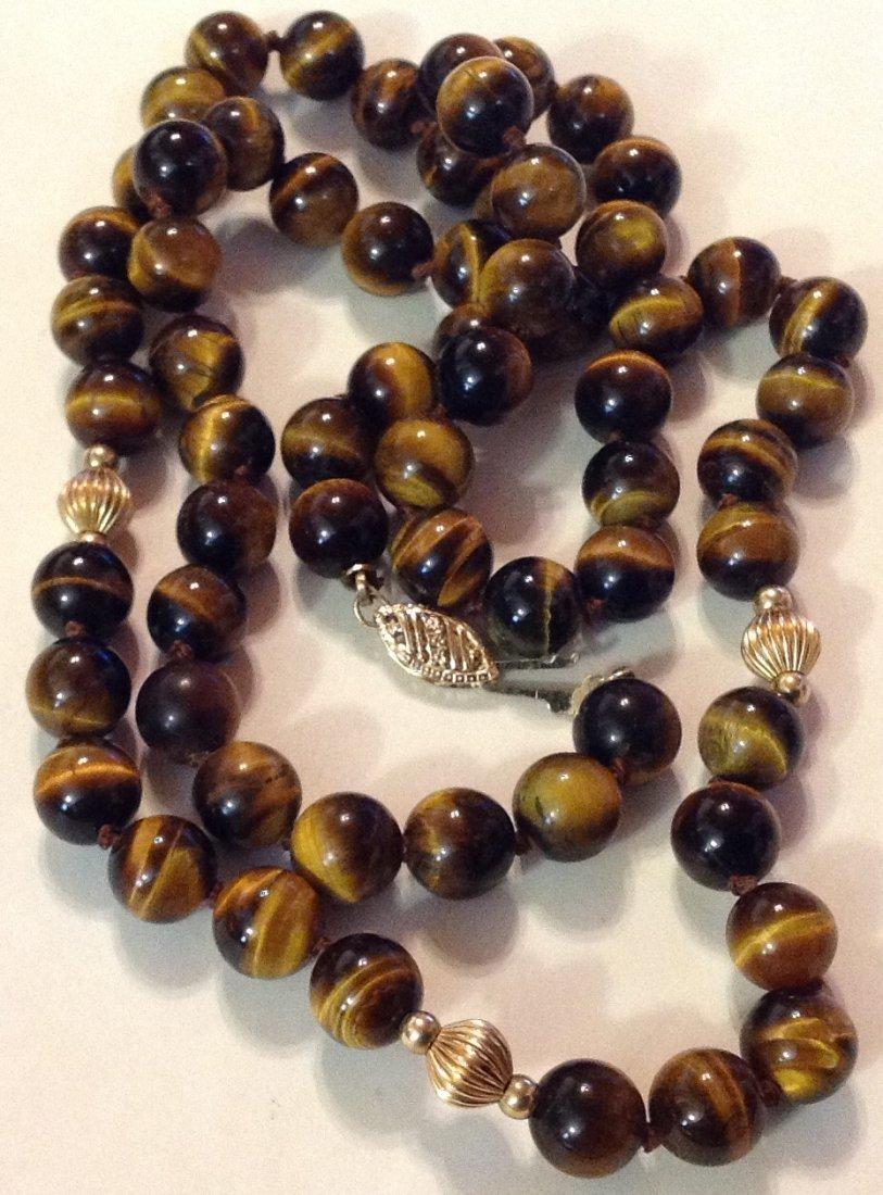 Estate 14k gold tiger eye bead necklace