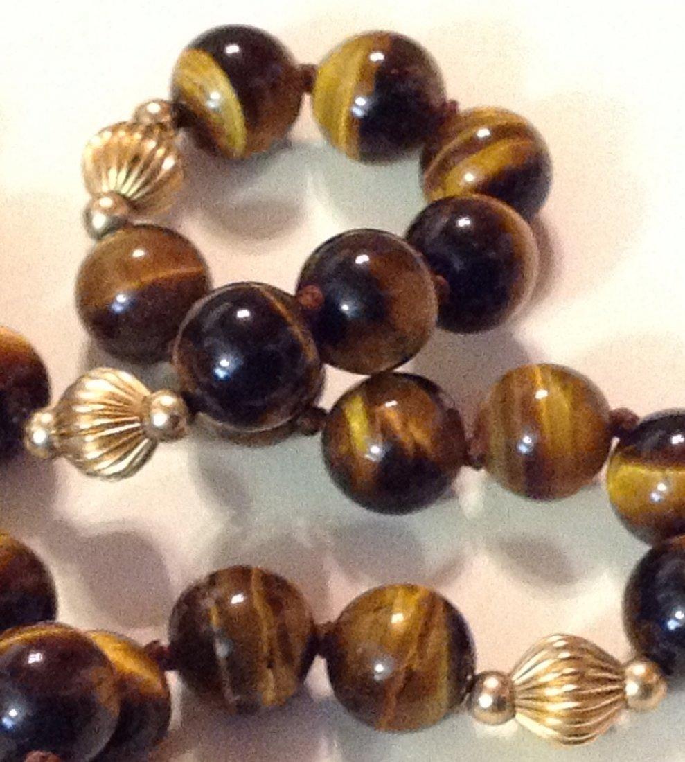 Estate 14k gold tiger eye bead necklace - 2