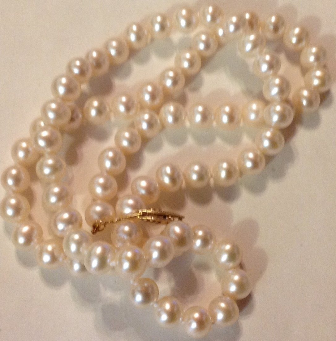 Estate 14k gold white pearl bead necklace