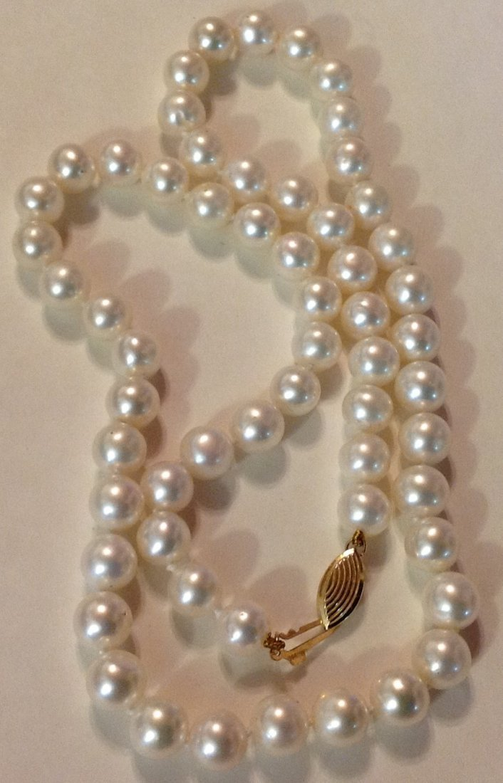 Estate 14k gold white pearl bead necklace - 2