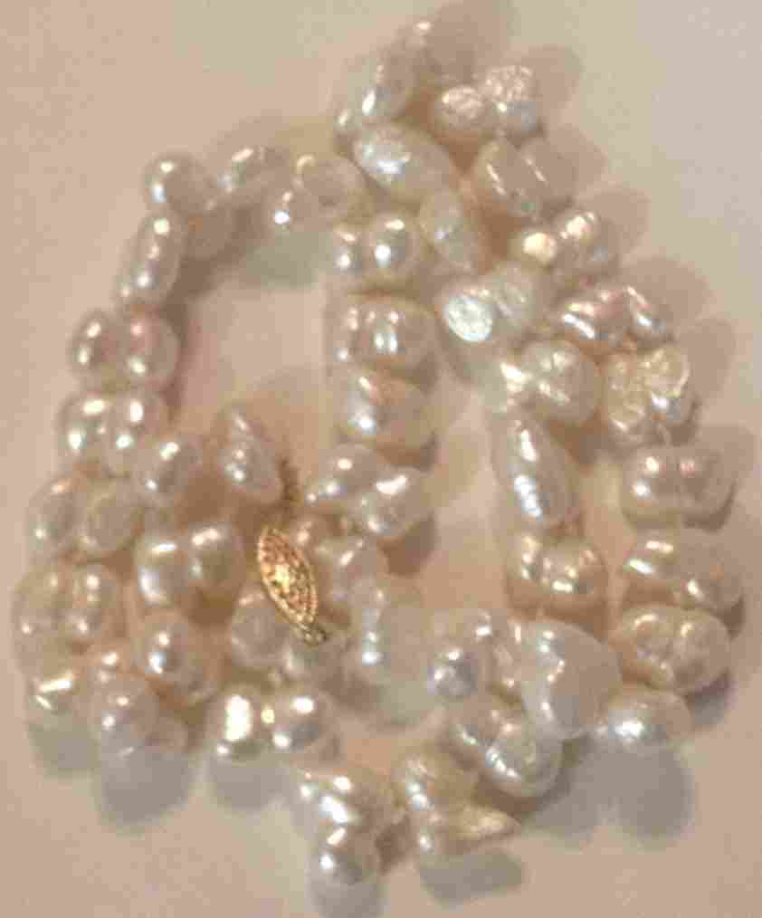Estate 14k gold white baroque pearl bead necklace