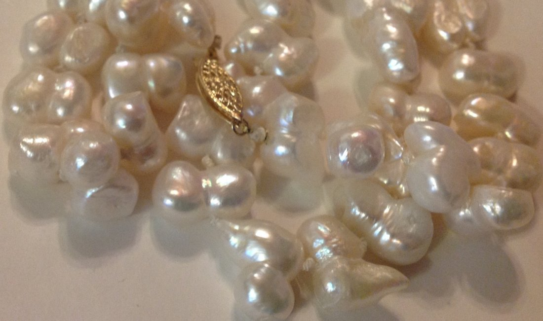 Estate 14k gold white baroque pearl bead necklace - 2