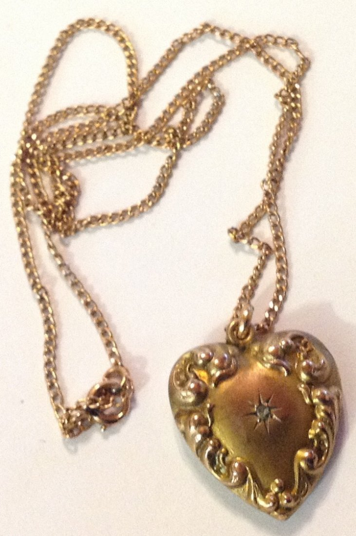 Estate old 10k gold repousse diamond heart necklace