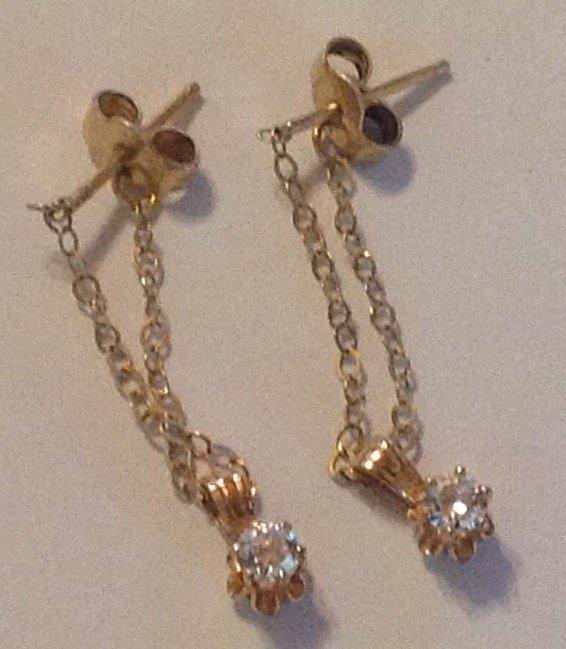 Estate vintage 14k gold dangle chain earrings