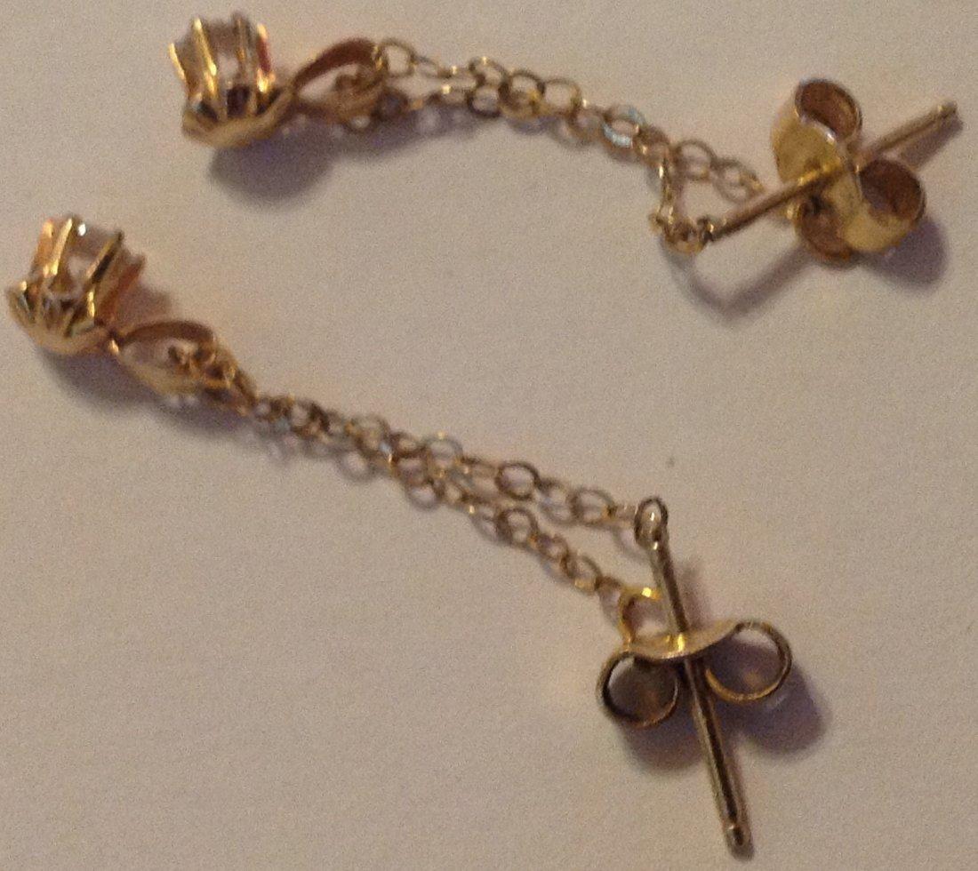 Estate vintage 14k gold dangle chain earrings - 2