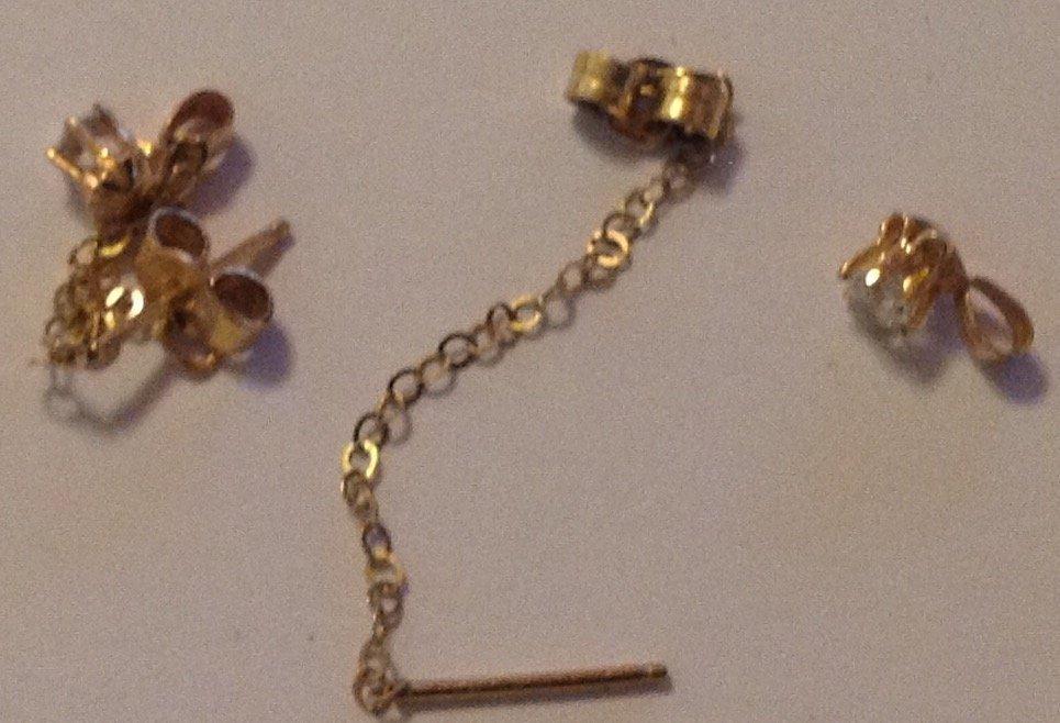 Estate vintage 14k gold dangle chain earrings - 3