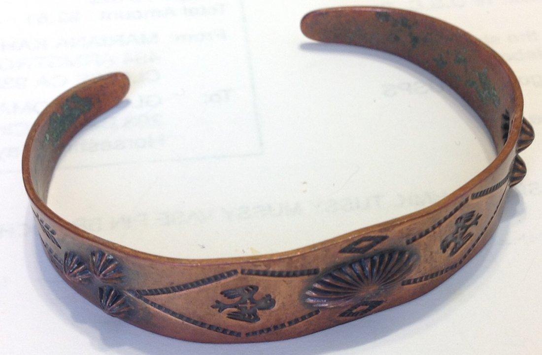 Estate native old pawn stamped copper bracelet