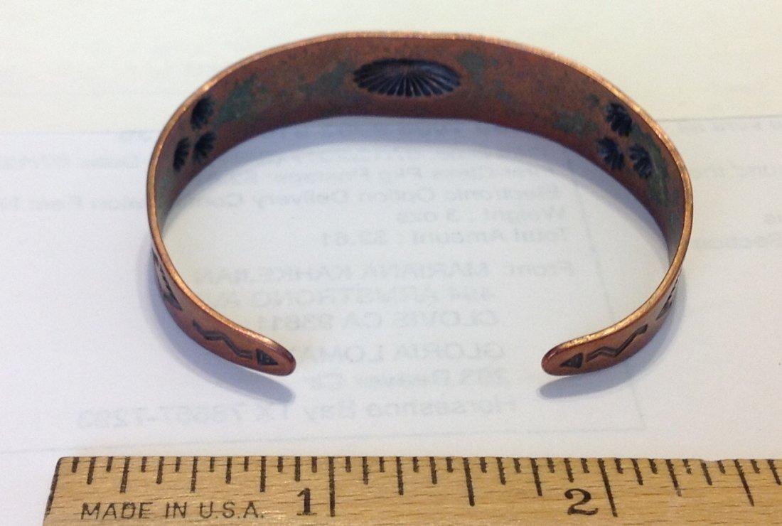 Estate native old pawn stamped copper bracelet - 3