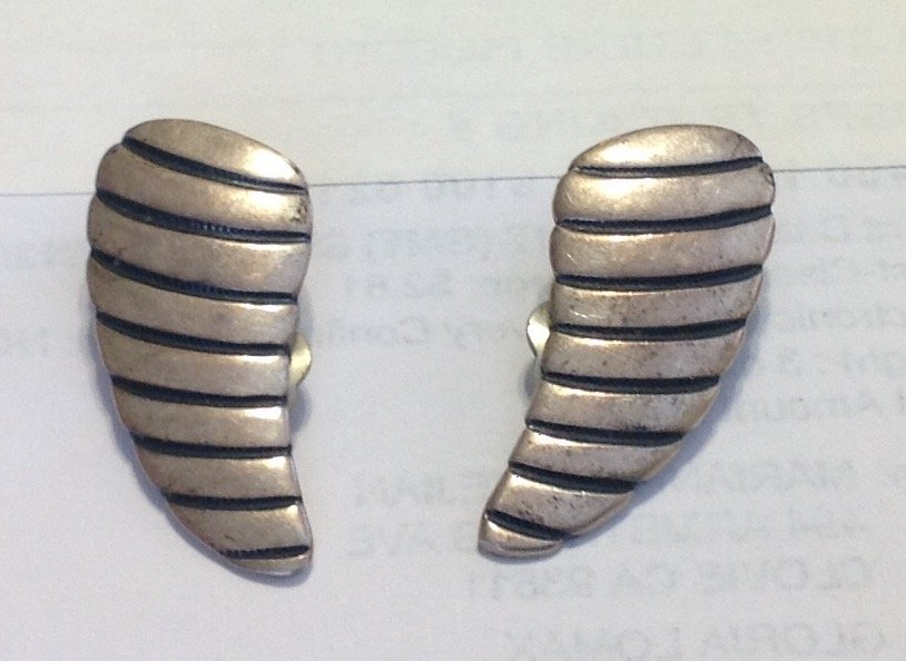 Estate old Native Sterling conch shell clip on earrings