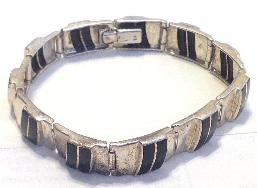 Estate vintage sterling onyx inlay bracelet