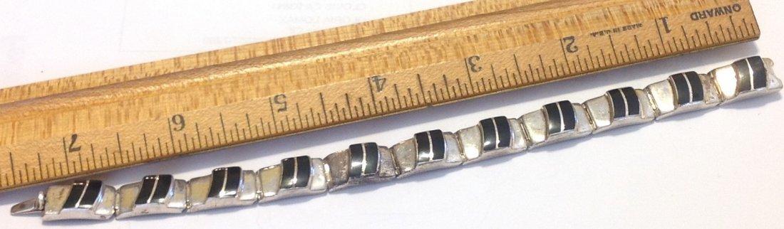 Estate vintage sterling onyx inlay bracelet - 3