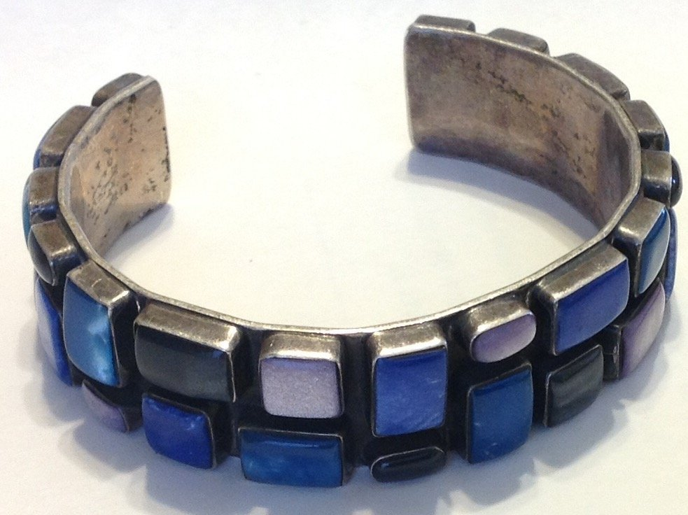 Estate vintage Huge Mexico sterling cuff bracelet