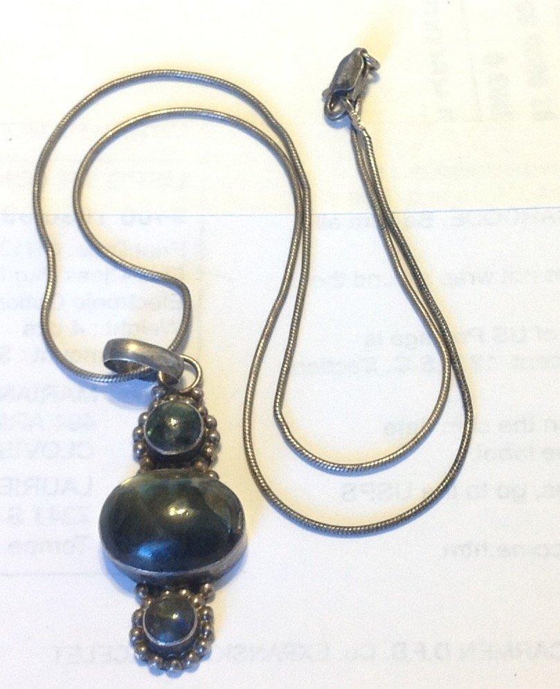 Estate vintage sterling gemstone pendant necklace