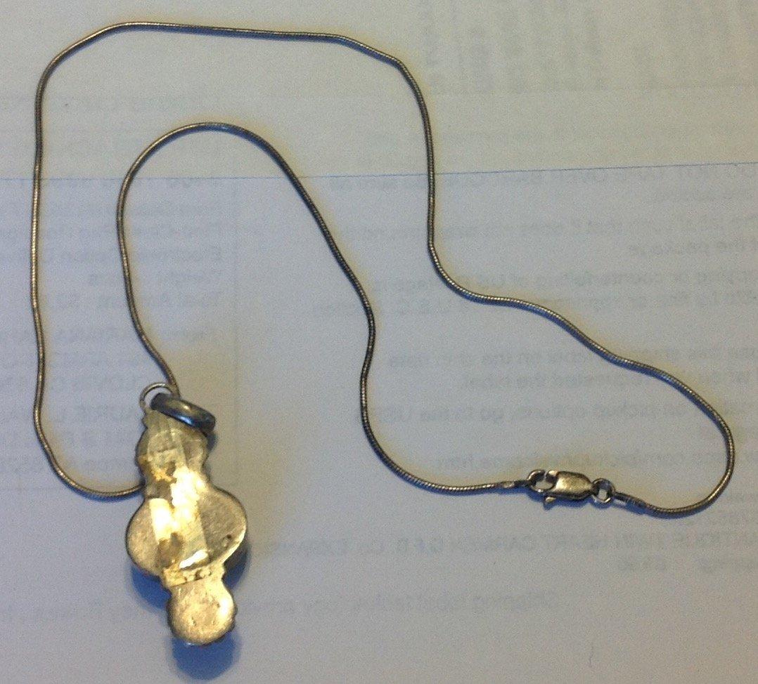 Estate vintage sterling gemstone pendant necklace - 2