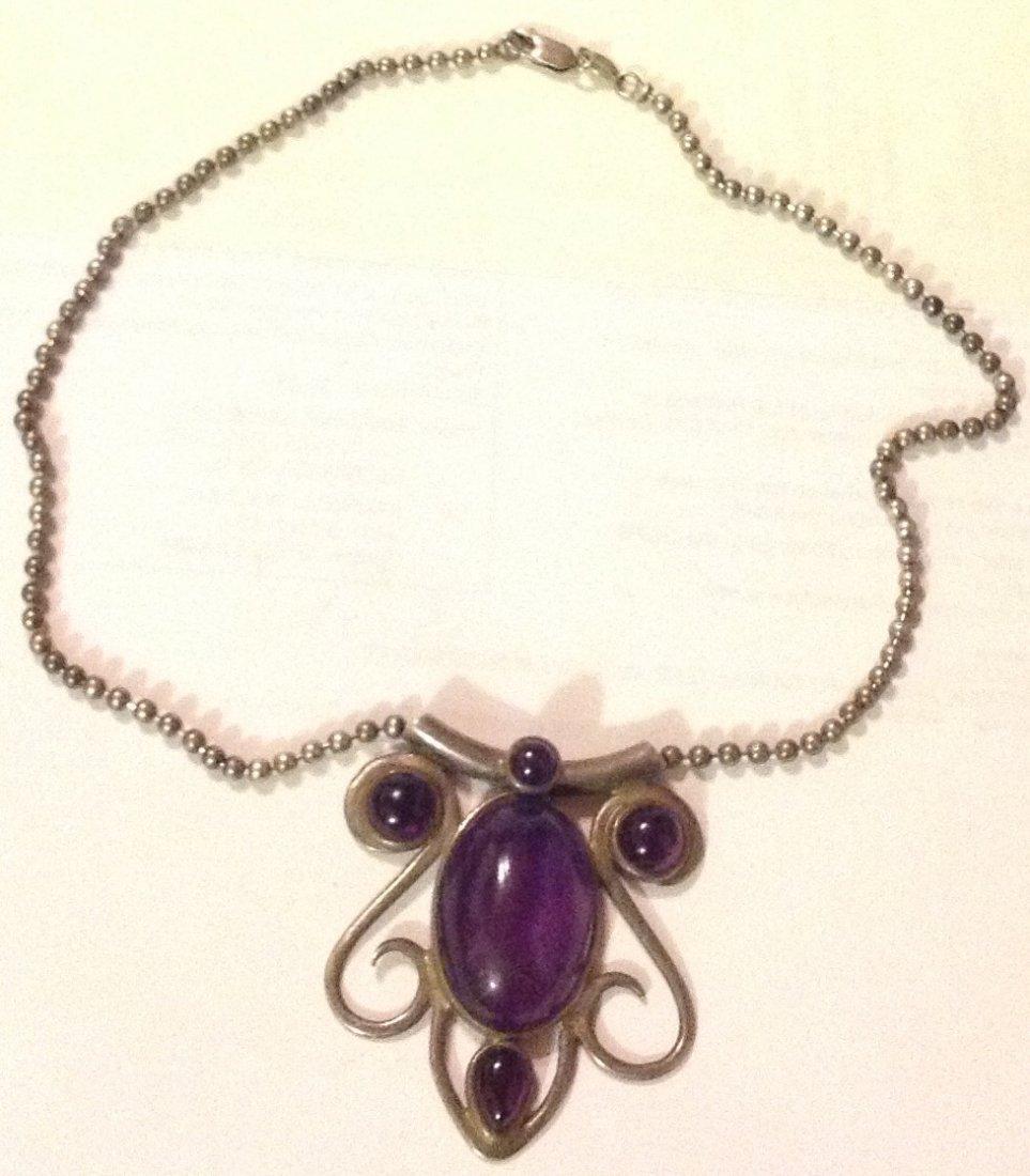 Estate Old sterling silver amethyst huge pendant