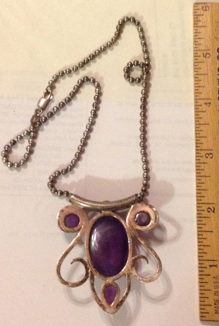 Estate Old sterling silver amethyst huge pendant - 2
