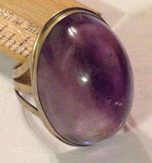Estate antique sterling amethyst huge ring