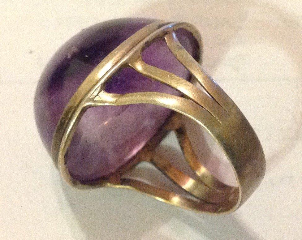 Estate antique sterling amethyst huge ring - 2