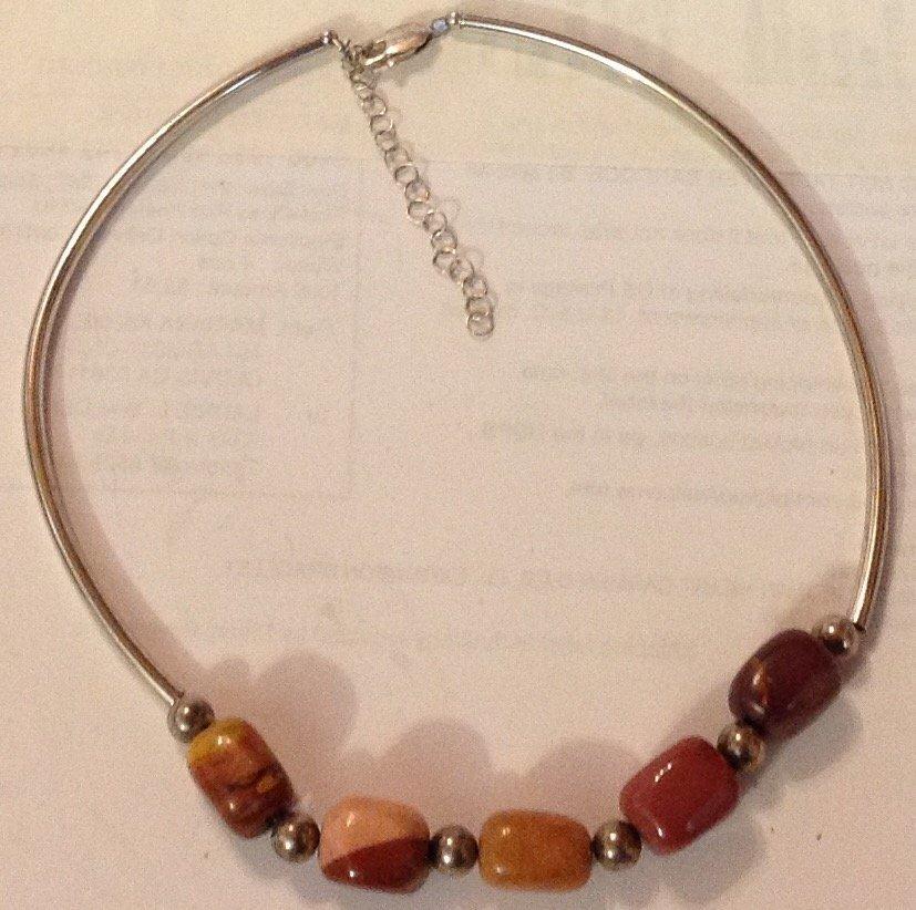 Estate vintage sterling agate stones choker necklace