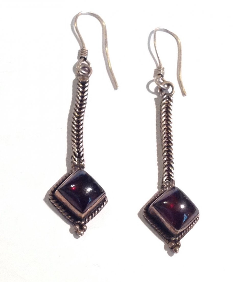 Estate old sterling silver garnet drop earrings