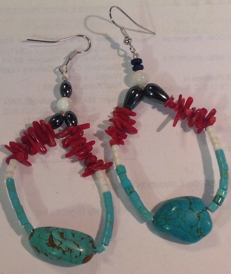 Estate vintage native turquoise coral large earrings
