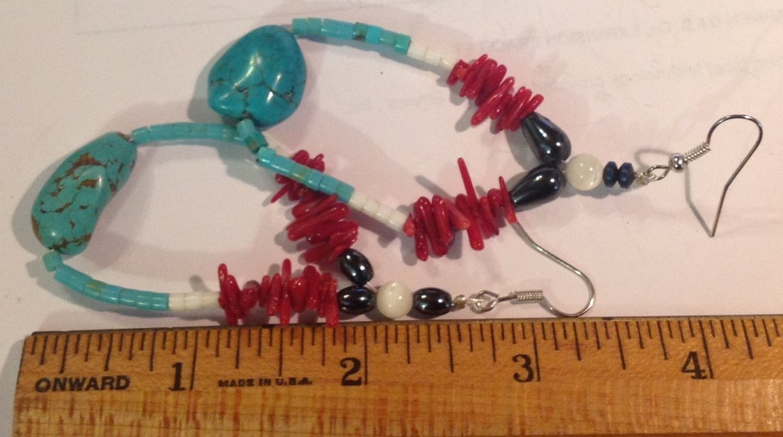 Estate vintage native turquoise coral large earrings - 2